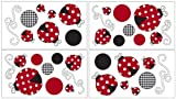 Little Ladybug Wall Decal Stickers by Sweet Jojo Designs - Set of 4 Sheets