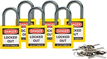 Brady 118962 Yellow, Brady Compact Safety Lock - Keyed Alike (6 Locks
