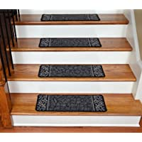 Dean Washable Non-Skid Carpet Stair Treads - Garden Path Black (13)
