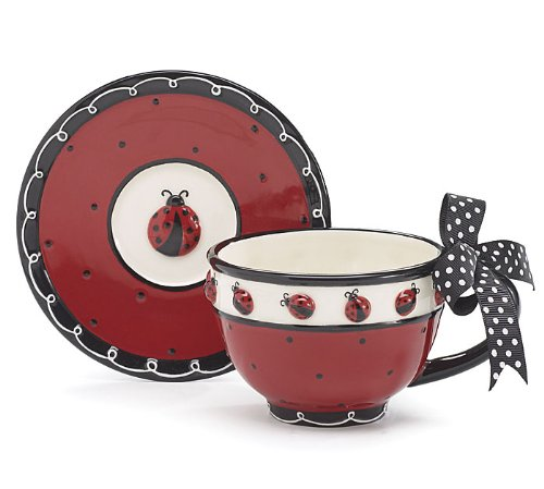 Whimsical Ladybug Teacup and Saucer Set with Bow on Handle Adorable Teacup fo...