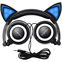 Mindkoo Cat Ear On-Ear 3.5mm Wired Headphones (Blue)