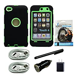 Mstechcorp Black Green Commuter (Full Body Armor) for Apple Ipod Touch 4 4g 4th 4 gen Silicone Protective Tough Case (Sealed in Mstechcorp Packaging) Ultra Durability Guarantee + Built in Screen Protector