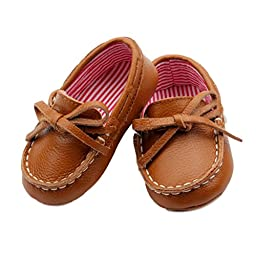 Genuine Leather Dock Shoes for Infant Baby Boys - Soft Sole with Red & White Striped Lining (Tan) (12-18 Months (5\