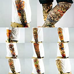 10pc Fake Temporary Tattoo Sleeves Body Art Arm Stockings Accessories by Kare&Kind - Designs Tribal, Dragon, Skull, and Etc.