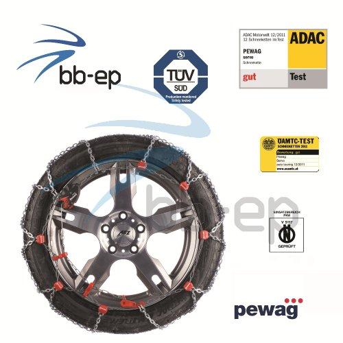 """Premium Schneekette servo von Pewag für Fahrzeuge mit hoher Motorleistung für die Reifengröße - 195/60- R15 - ADAC-Test Dezember 2011 """"GUT"""" TÜV geprüft & Ö-Norm V 5117"""