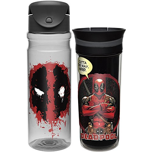 Zak! Designs 26 oz. Tritan Water Bottle & 16 oz. Insulated Travel Tumbler featuring Masters of the Universe Deadpool graphics, Leak-proof, Break-resistant & BPA-free, 2 piece set (Avengers Coffee Mug Set compare prices)