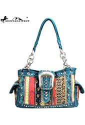Ma-8085 Western Aztec Buckle Collection Handbag Tote Purse Hand Bag Turquoise