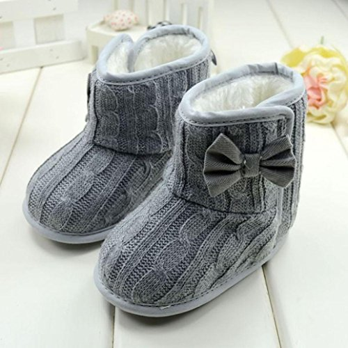 DZT1968® Baby Girl Soft Anti Slip Sole Knit Cotton Bowknot Shoes Snow Boots Socks (0~6 Months, Gray)