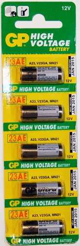 Strip of 5 GP High Voltage 12v A23 23AE Batteries - 12V
