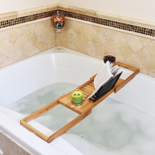 Ultimate Bamboo Bath Caddy Tray with Large Non Slip Extending Sides ...