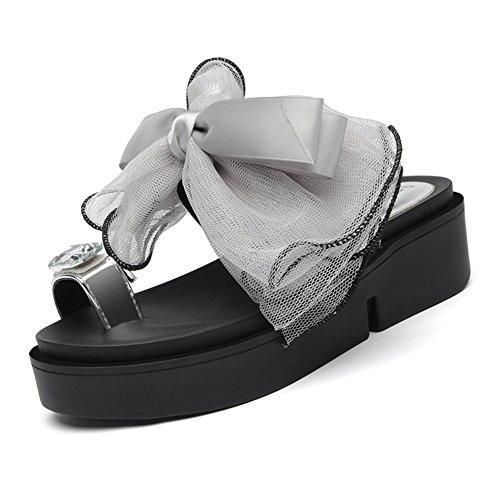 chaussons/Été style coréen plat avec chaussons à semelle épaisse/Clips de la proue à l'extérieur du pied portent des tongs de plage/Mme sandales