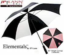 """Elementals 62"""" Pink Ribbon Breast Cancer Awareness Single Canopy Umbrella by JP Lann (Pink & Black, Windproof Construction)"""