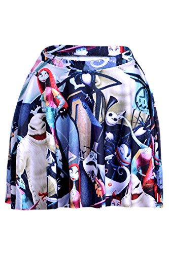 Womens Stylish The Nightmare Before Christmas Flared Pleated Skater Skirt Small