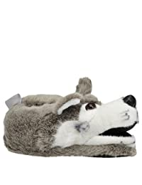 Happy Feet Women's Grey Wolf Slipper
