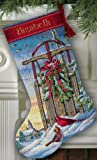 """Dimensions Gold Collection Christmas Sled Stocking Counted Cross Stitch: 16"""" Long"""