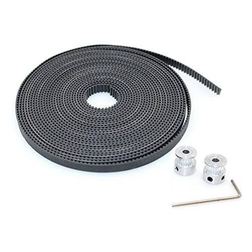 BIQU GT2 10 Meters Timing Belt + 2Pcs 5mm 20Teeth Timing Pulley Wheel for 3D Printer