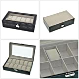 TSSS®Exquisite Black Leather Watch Organizer Box Cabinet with 12 Compartments and Soft Cushions and Glass Window