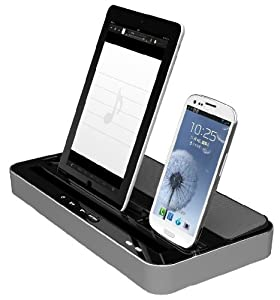 IPEGA Speaker and Charger 2 in 1 Stand Mount Cradle Multi-Function Docking Station for iPhone 5/4/4S,iPad 2/3/4/iPad mini,Samsung device Silver by IPEGA