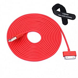Colorful 30pin USB Data Sync and Charge Cable Compatible with Iphone 4/4s, Iphone 3g/3gs, Ipod (Red,10ft Long)