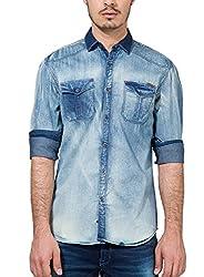 Locomotive Men's Casual Shirt (15110001457543_LMSH010378_X-Large_Blue)