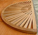 New Grade A Teak Wood 34x17 Sun Burst Door / Shower/ Spa / Bath Floor Mat #WFAXSBFM