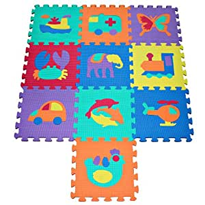 TLCmat® Soft Foam Play Mat Puzzle with Animal and Transportation Pop-Out
