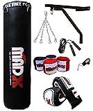 MADX 5ft Filled Heavy Punch Bag black Set,Chain,Bracket,Gloves,Rope