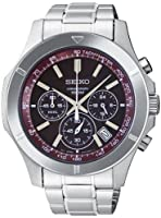 Seiko SSB101 Mens Watch Chronograph Stainless Steel Case and Bracelet Burgundy Tone Dial Date Display from Seiko