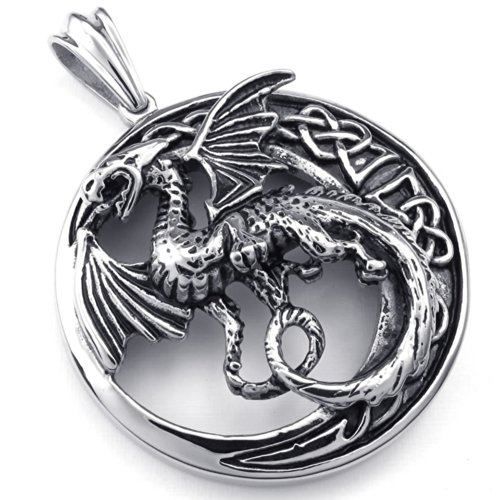 KONOV Jewelry Mens Gothic Tribal Dragon Stainless Steel Pendant Necklace, Black Silver, 20″ inch Chain