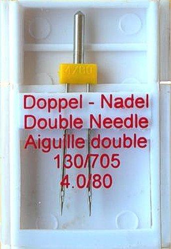 1 Stück 4,0 / 80 Doppel - Nadel 130/705 für Nähmaschine ( Zwillingsnadel Nähmaschinennadel )