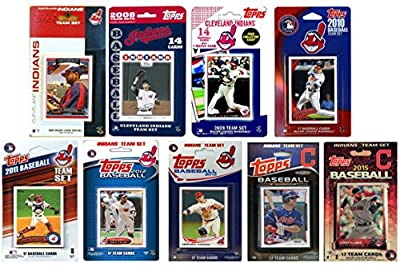 "MLB Cleveland Indians 9 Different Licensed Trading Card Team Sets, 4"" x 7"""