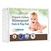 Organic Cotton Waterproof Pack 'N Play Crib Pad - Natural Baby Crib Mattress Cover and Protector - Fitted, Unbleached, Non-Toxic & Hypoallergenic by Dry Defender