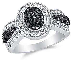 Size 8 - 10K White Gold Black & White Round Diamond Halo Circle Engagement Ring - Channel Set Oval Center Setting Shape (1/2 cttw.)