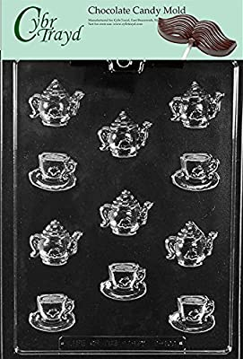Cybrtrayd D100 Bite Size Tea Pots & Cups Chocolate Candy Mold with Exclusive Cybrtrayd Copyrighted Chocolate Molding Instructions