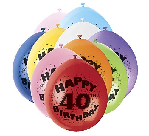 """9 """"de látex variados 40a feliz cumpleaños Globos, paquete de 10"""
