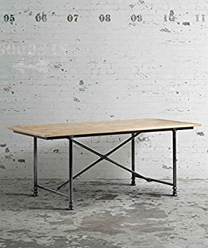 MY-Furniture - RENOIR - Mesa de comedor industrial de madera reciclada y acero