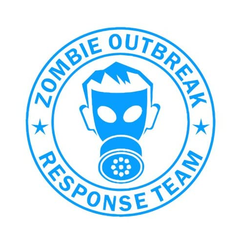 Zombie Outbreak Response Team IKON GAS MASK Design   5 LIGHT BLUE   Vinyl Decal Window Sticker by Ikon Sign
