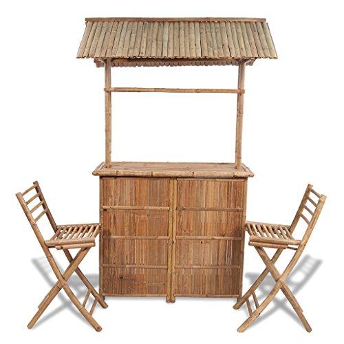 cheap vidaxl bamboo bar counter set 2 stool 1 table top garden
