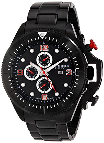 Akribos Xxiv Men'S Ak724Bk Grandiose Analog Display Swiss Quartz Black Watch
