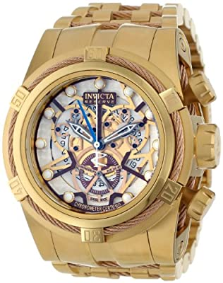 Invicta Men's 13756 Bolt Reserve Chronograph Rose Gold Tone and Beige Dial 18k Gold Ion-Plated Stainless Steel Watch