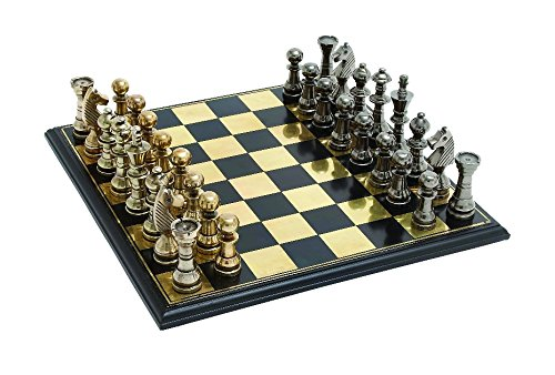 Woodland Imports Sleek and Stylish Chess Set with Polished Aluminum Pieces and Stainless Steel Plated Wooden Board (A Sleek And Polished compare prices)