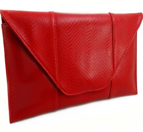 Python Snake Matte Red Oversized Clutch