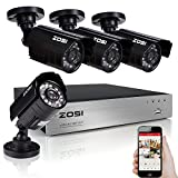 ZOSI CCTV system 8CH H.264 720p DVR 4x HD 1/3'' CMOS IR CUT day night waterproof outdoor Bullet camera surveillance security system NO Hard Drive (1080P HDMI Output, Smartphone& PC Easy Remote Access)