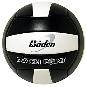 Baden MatchPoint Official Size 5 Cushioned Volleyball, Black/White