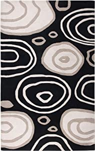 Rizzy Rugs FN-0071 3-Foot-by-5-Foot Fusion Area Rug, Contemporary Black