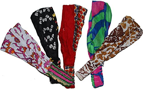 Wevez-Womens-Pack-of-5-Stretchable-Printed-Head-Bands-One-Size-Assorted