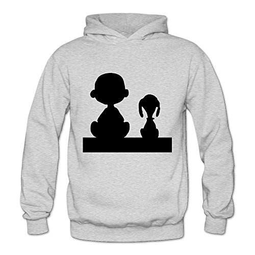 Snoopy And Charlie Brown Long Sleeve Slim Fit Hoodies For Female Ash XL