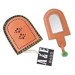 A&E Kutch Sparkling Candy Leather Funky Handbag Mirror , orange