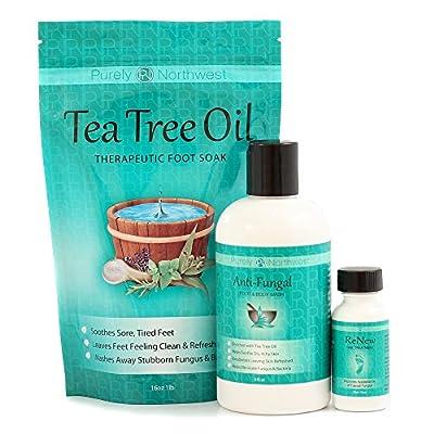 Purely Northwest Three Part Toenail Fungus System with Tea Tree Foot Soak, Antifungal Foot Wash & ReNew Nail Treatment.