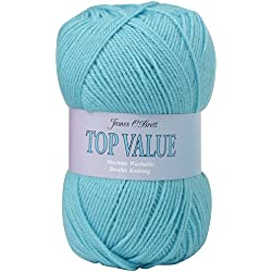 James Brett Top Value DK Double Knitting Wool 100% Acrylic Yarn 100g Ball (Aqua Blue 847)